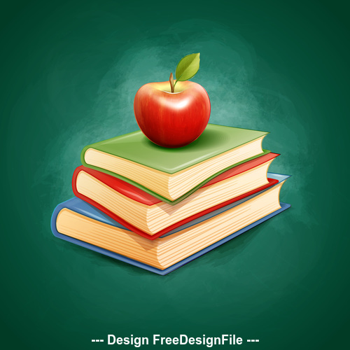 Illustration book and apple vector