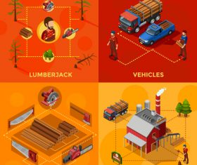 Illustration wood processing process vector