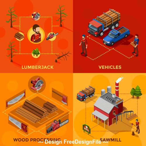 Illustration wood processing process vector