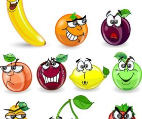 Interesting fruits emoji vector