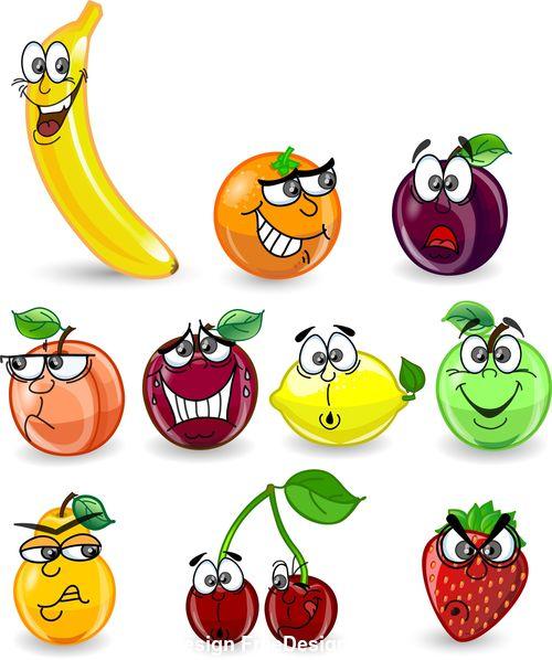 Interesting fruits emoji vector