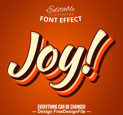 Joy 3d font text effect vector