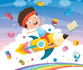 Kid dream cartoon vector