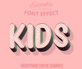 Kids 3d font effect editable text vector