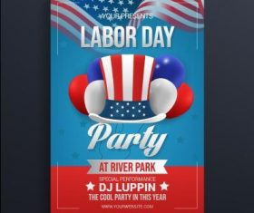 Labor day party card vector