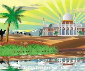 Landscape Arab Palace in the desert vector