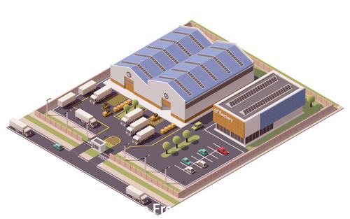 Large storage warehouse vector