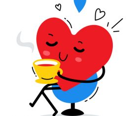 Leisure tea tasting heart illustration vector