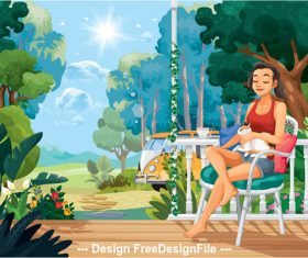 Leisure time cartoon illustration vector