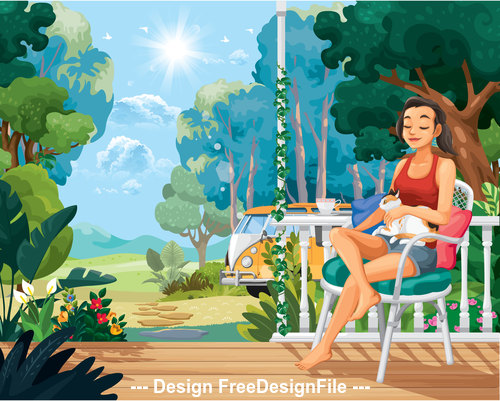 Leisure time cartoon illustration vector