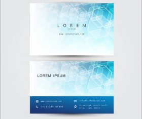 Light blue geometric background business card template design vector