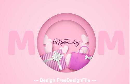 Light pink background happy mothers day vector greeting card