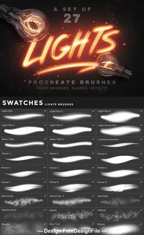 Lights Procreate Photoshop Brushes