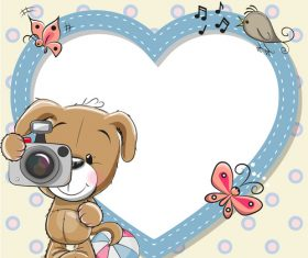 Little bear and heart frame vector