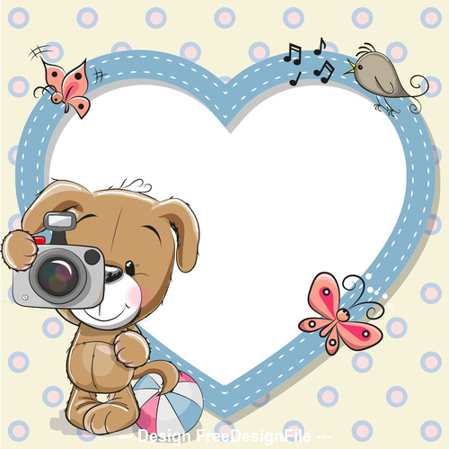 Little bear and heart frame vector