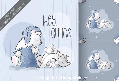 Little bear and rat cartoon background vector