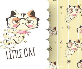 Little cat cartoon background pattern vector