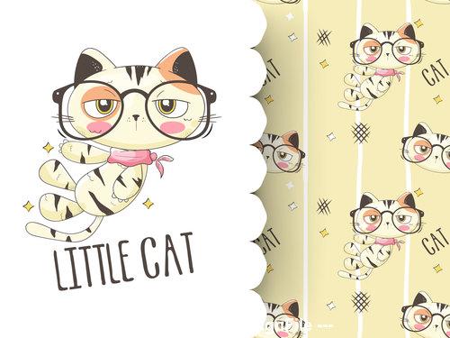 Little cat cartoon background pattern vector