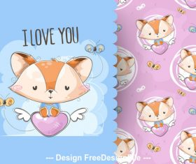 Little fox cartoon background pattern vector
