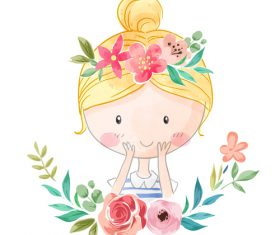 Little girl and flower cartoon illustration vector