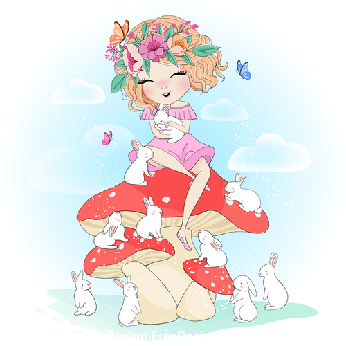 Love baby animals cartoon illustration vector