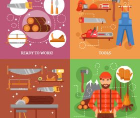 Lumberjackand tools and protection banner vector