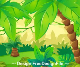 Lush coconut landscape illustration vector