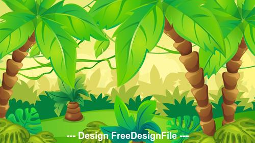 Lush coconut landscape illustration vector
