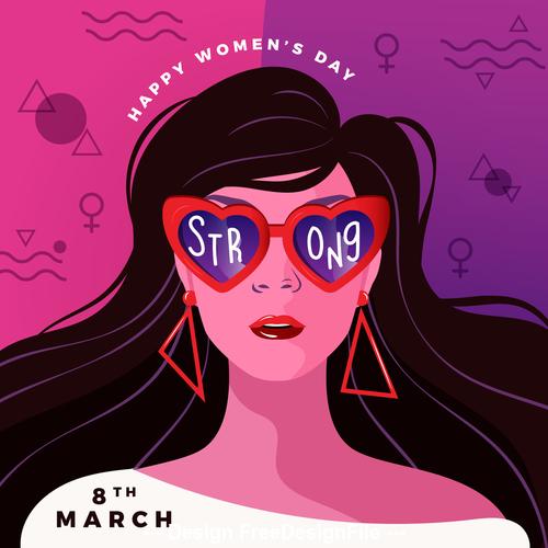 March 8 womens day cartoon illustration vector