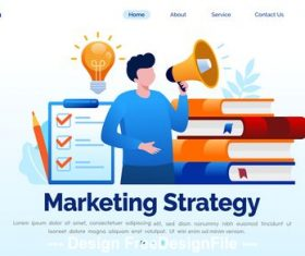 Market strategy cartoon illustration vector