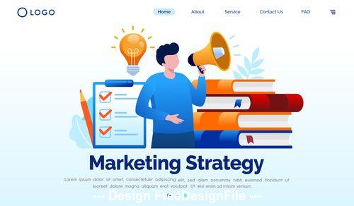 Market strategy cartoon illustration vector