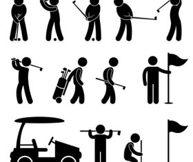 Matchstick men playing golf vector