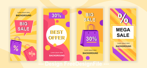 Mega sale instagram stories social media template vector