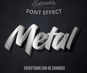 Metal 3d font text effect vector