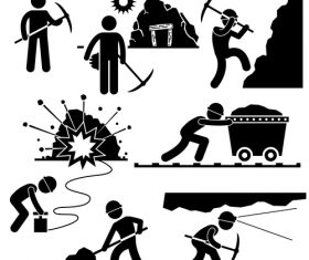 Miners matchstick men vector