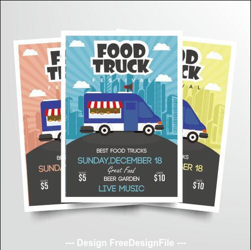 Mobile sale food truck poster vector