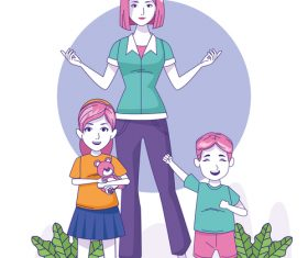 Mom and child vector
