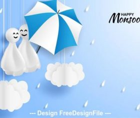 Monsoon sale card vector