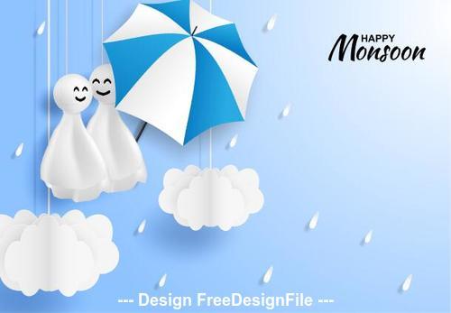 Monsoon sale card vector