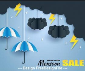 Monsoon special sale flyer vector