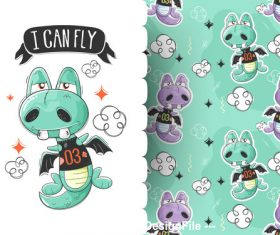 Monster cartoon background pattern vector