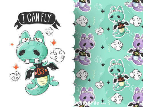 Monster cartoon background pattern vector