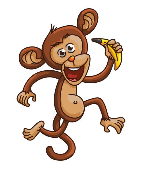 Monyet eating banana cartoon vector