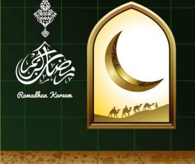 Moon with Camel Ramadan Kareem Islamic Greeting Card vector 02