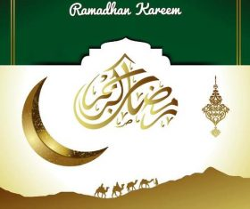 Moon with Camel Ramadan Kareem Islamic Greeting Card vector 03