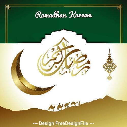 Moon with Camel Ramadan Kareem Islamic Greeting Card vector 03