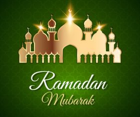 Mosque silhouette Eid mubarak greeting card vector
