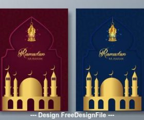 Mosque silhouette card vector