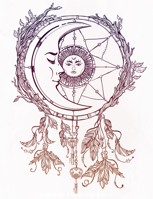 Mythological hand drawn pattern vector