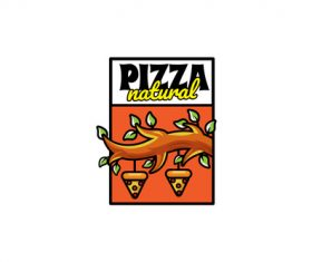 Natural pizza mascot logo vector